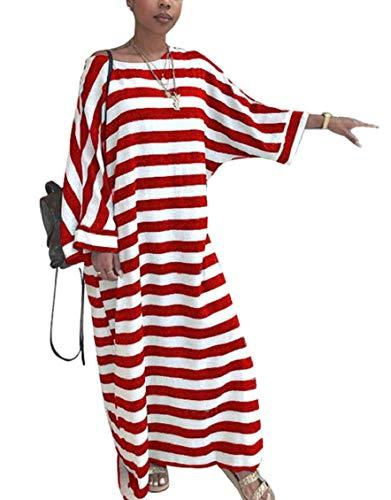 Jaycargogo Womens Casual Rayé Imprimé À Manches Longues Col Lâche Équipage Rouge Longue Robe Maxi