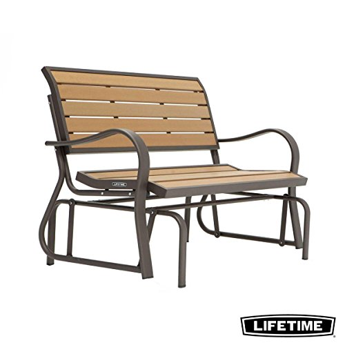Contoured 2-3 Seater Weather Resistant Polystyrene Faux Wood Outdoor Glider Bench in Slatted Oak Finish