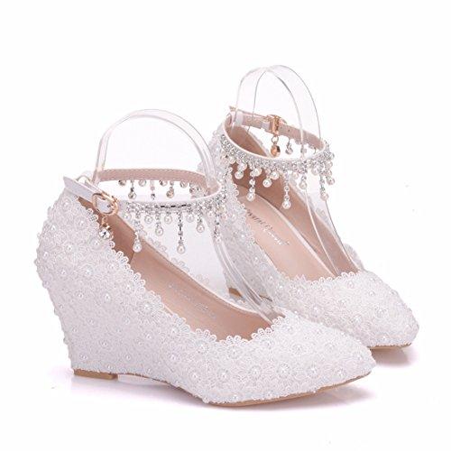 Minitoo MinitooEU-MZ8275, Escarpins pour Femme White-9cm Heel