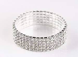 NYBK 7''Bridal Rhinestone Stretch Bracelet Silver Tone - Ideal for Wedding, Prom, Party or Pageant (5-ROW)