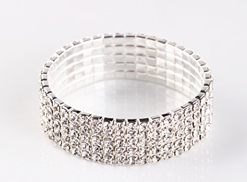NYBK 7''Bridal Rhinestone Stretch Bracelet Silver Tone - Ideal for Wedding, Prom, Party or Pageant (5-ROW)