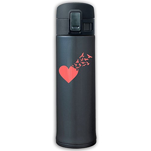 Heart Birds Stainless Steel Insulated Vacuum Bounce Cover Coffee Mug Security And No Peculiar Smell Water Bottle 500ml