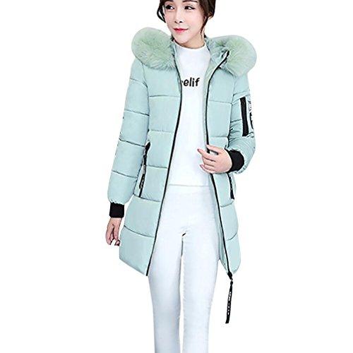 Mamum - Piumino lungo da donna, cappotto invernale caldo e pesante con cappuccio, colori: rosa, nero, grigio, verde militare, verde Green