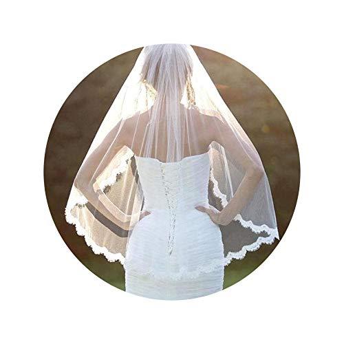 Women Wedding Accessories White Lace Veil 1 Layers Tulle Ribbon Edge Bridal Veils,White