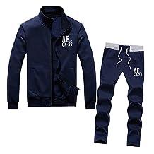 SODIAL(R)Men recreational sports suit men tracksuit 2XL navy