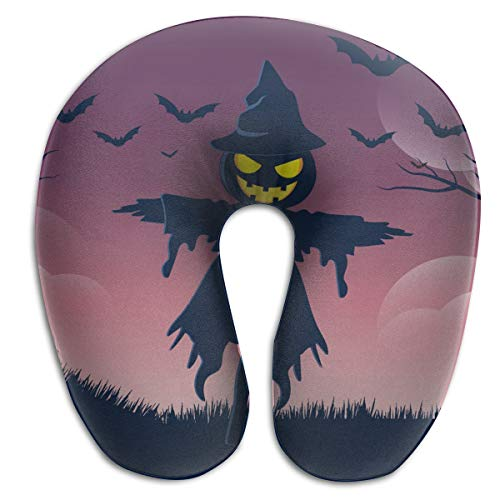(Laurel Neck Pillow Halloweeen Scarecrow Travel U-Shaped Pillow Soft Memory Neck Support for Train Airplane)