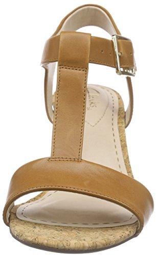Clarks Smart Deva - Sandalias de Tobillo Mujer Marrón (Tan Leather)