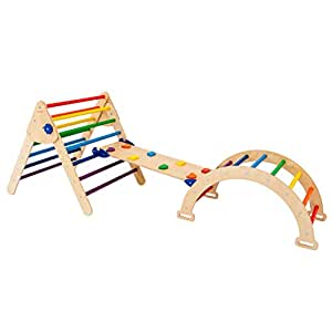 Set of 3 Triangle for Kids Toddlers Rock with ramp - Montessori Climber Ladder Slide - Learning Waldorf Climbing Arch Toy for Toddler N.Wood+Rainbow (Large Size)
