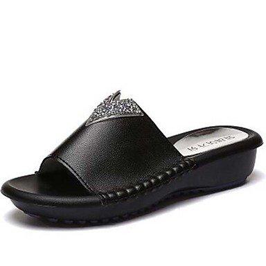 Women'szapatillas &Amp; Flip-Flops Primavera / Verano / Oto?o zapatillas sint¨¦ticas / vestimenta casual tal¨®n plano Pearl Negro / Blanco US8 / EU39 / UK6 / CN39