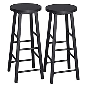 WOLTU Breakfast Kitchen Counter Bar Stools Set of 2 PCS MDF Seat Seat Bar Chairs Metal Legs Barstools Black High Stools