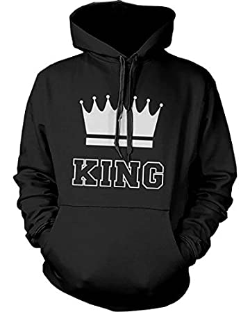 365 printing king and queen crown couple hoodies cute matching