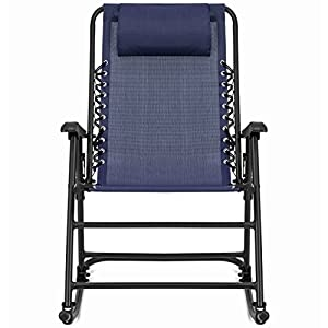 Best Choice Products Folding Rocking Chair Foldable Rocker Outdoor Patio Furniture - Blue