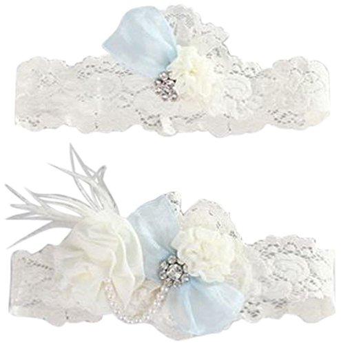 Something Blue Vintage Lace Garter Set Style A91400, Ivory, Plus