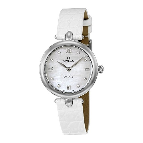 Omega De Ville Prestige Mother of Pearl Diamond Dial Leather Strap Ladies Watch 424.13.27.60.55.001