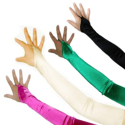 SACAS Fingerless Long Over the Elbow Bridal Satin Gloves with 20 Colors