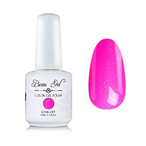 Beau Gel UV LED Soak Off Nail Gel Polish Bling Color Nail Art Decor Long Lasting Nail Lacquer 15ml Pearl Hot Pink ()
