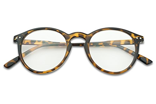 SunglassUP Nerdy Round Horned Reading Glasses Assorted Cheating Strengths +1.00 thru +3.50 Rx Power (Tortoise Shell, - Brown Glasses Tortoise Shell