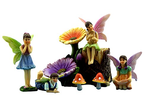 Fairy Garden Fairies with Miniature Accessories – Fairy Garden Figurines & Flower Stump Set – Supplies by Pretmanns (Garden Statues Fairy Resin)