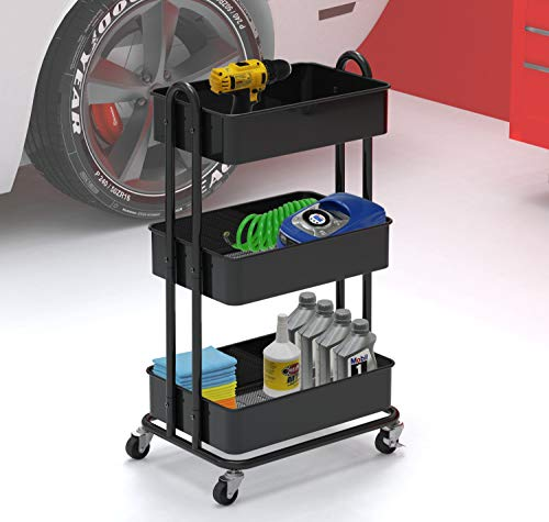 Image of SimpleHouseware Heavy Duty 3-Tier Metal Utility Rolling Cart, Black
