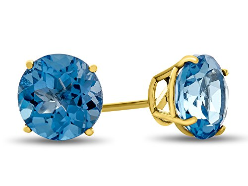 - Finejewelers 14k Yellow Gold 7mm Round Swiss Blue Topaz Post-With-Friction-Back Stud Earrings