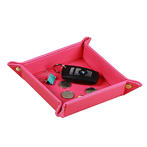 YAPISHI Nightstand Organizer Mens Bedside Valet Storage Tray for Key Wallet Change Coin Watch Dice Jewelry, Leather Travel Catchall Bowl Trinket Dish (Rose Red)