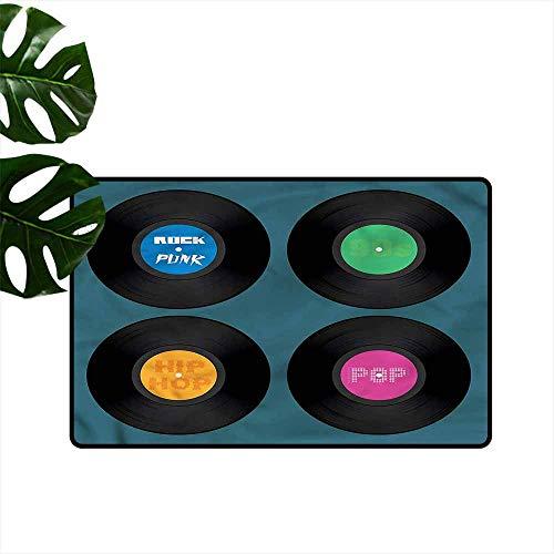 Non-Slip Door mat 90s Music Vinyl Discs LP Rock Pop Machine wash/Non-Slip W16 xL24