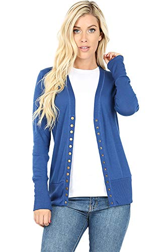 Cardigans for Women Long Sleeve Knit Press-Stud Button Sweater Regular & Plus - Sapphire (Size M) ()