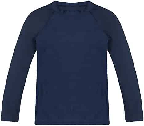ESTAMICO Boys' Long Sleeve Rashguard Swimwear Rash Guard Athletic Tops Swim Shirt Upf 50+ Sun Protection