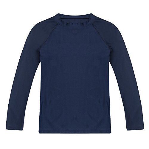 Boys' Long Sleeve Rashguard Swimwear Rash Guard Athletic Tops Swim Shirt UPF 50+ Sun Protection, Navy -