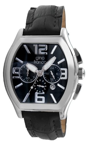 gino franco Men's 9655BK Barrel Shaped Chronograph Stainless Steel Genuine Leather Strap Watch