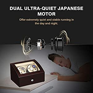 CRITIRON 4+6 Automatic Watch Winder Luxury Storage Case Rotating Display Box, Wood Shell with Piano Paint, Brown