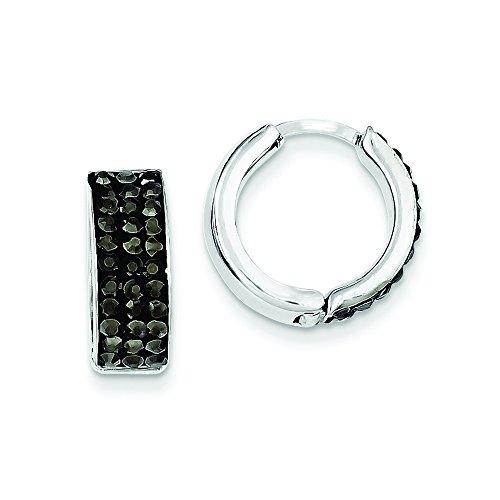 Sterling Silver Charcoal Preciosa Crystal Small Hinged Hoop Earrings - Sterling Silver Charcoal