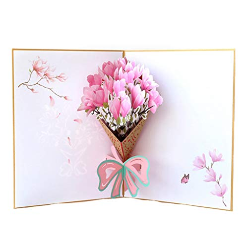OrchidAmor Romantic 3D Popup Greeting Cards Carousel Happy Birthday Mother's Day Thank Gift -