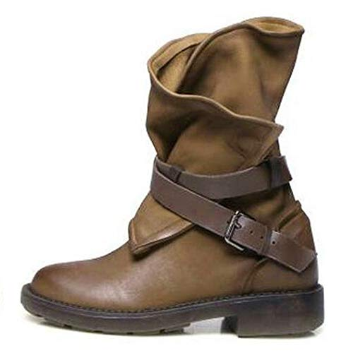 PENGYGY Fashion Medium Military Boots Women Buckle Artificial Leather Patchwork Shoes