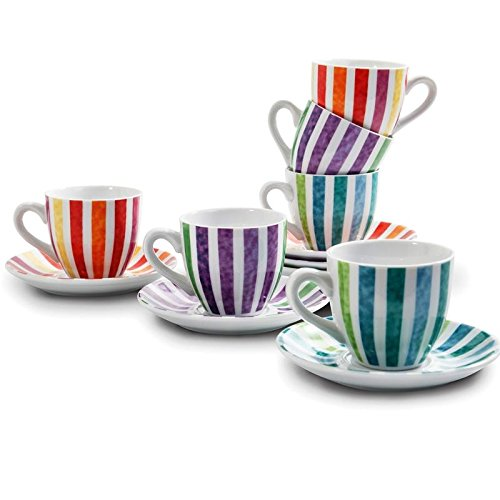 BIA Cordon Bleu Set of 6 Porcelain 3.5 ounce Espresso Cups - Striped - Porcelain 3.5 Ounce