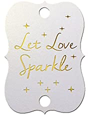 Summer-Ray 50 Gold Foil Hot Stamping Little Violin Wedding Sparkler Tags Let Love Sparkle (Shimmered White)