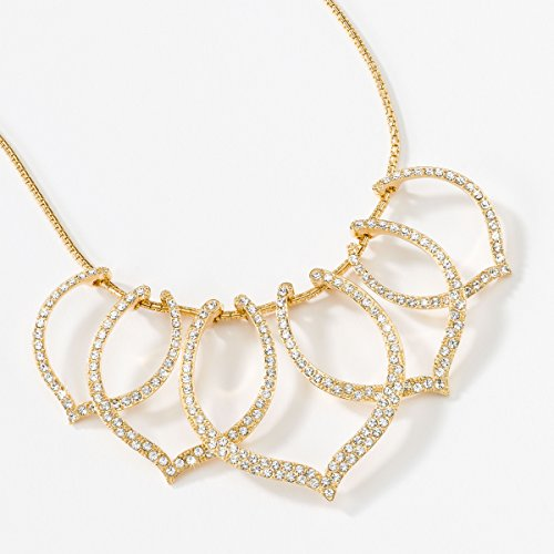 Touchstone Crystal by Swarovski Lutus Petals Golden Crystal Statement Necklace Swarovski Petals