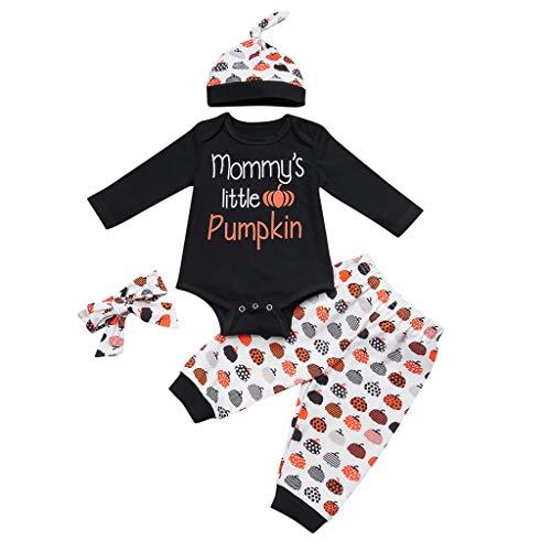 Mayunn (0-24M) Infant Babys Cotton Halloween Letter Print Romper Pimpkin Print Pant Hat Headband Outfit