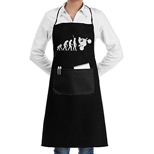 ShoppingNowDear Unisex Long Aprons Human Evolution Motorcycle Car1 Bakery Sleeveless Anti-Fouling Overalls Portable Pocket (Evolution Sleeveless)