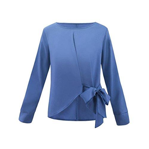 OL Manches Tops ud dcontract Vrac TAOtTAO en Chemisier bleu Femmes N Shirt Cravate Longues pour qwxfHEI