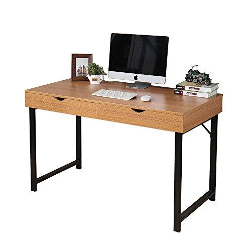 """Soges 47"""" Computer Desk Writing Desk Workstation Desk Wood Desk with Drawers for Home Office, Teak SWT-TK"""
