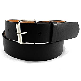 JTC Belt Genuine Faux Plain Leather Belt Detachable Buckle BLACK S