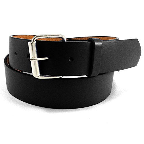 JTC Belt Genuine Faux Plain Leather Belt Detachable Buckle BLACK (Black Notched Leather Buckle Belt)
