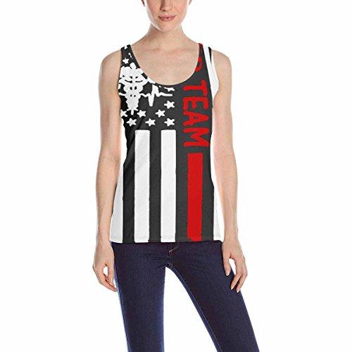 - huaxingkeji Women Vest Casual Vest Sleeveless Blouse Tank Tops Shirt Printing American Nurse Flag (2)