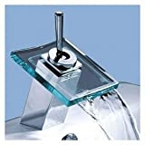 LightInTheBox Single Handle Glass Waterfall Brass Bathroom Undermount Sink Faucet, Chrome Picture