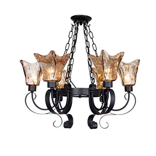 (YJJL Chandelier European Retro Wrought Iron Pendant Light Amber Glass Chandelier Restaurant Bedroom Living Room E276 LED Light Source)