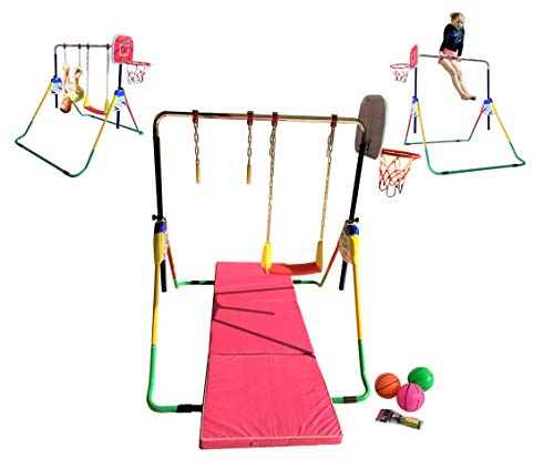 Kids Jungle Children Monkey Bar Gymnastics Athletic Expandable Kip Balance Bars Junior Training Play Gym Green with Swing, 2 Hanging Rings and Basketball Hoop and 6