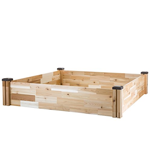 "CedarCraft Raised Cedar Garden Bed (49"" X 49"" X 10"") - Grow Fresh Vegetables, Herb Gardens, Flowers & Succulents. Beautiful elevated Garden Bed for your Yard and Home Gardening. No Tools Required."
