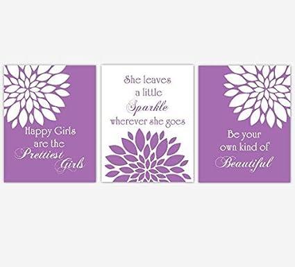 NNNNOOO - Cuadro Decorativo para Pared con Citas Inspiradoras para habitación de niña, diseño de Flores moradas, 3 Piezas
