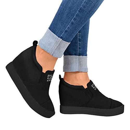 den Wedge Sneakers High Heel Slip On Platform Loafers Size 9 Black ()